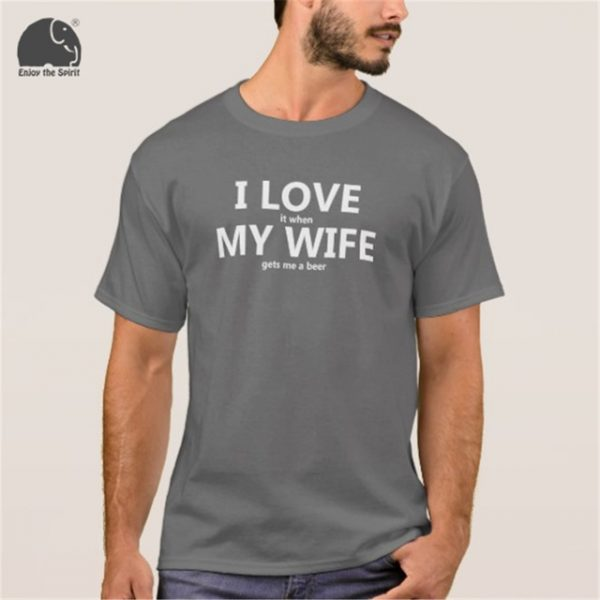 EnjoytheSpirit 2017 Summer T-shirt I Love My Wife FUNNY Beer Humor Shirt Men's Cotton Short Sleeve T Shirt Black Grey Red Color