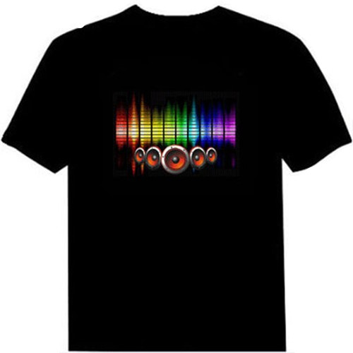 Hot Sale Sound Activated Led Cotton T Shirt – Light Up and Down Flashing Equalizer