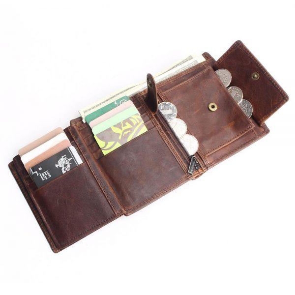 Vintage Designer 100% Genuine Carteiras Masculinas Cowhide Leather