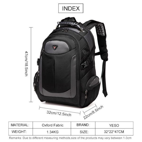 Laptop Backpack Men's Travel Bags – Multifunction Rucksack Waterproof Oxford Black Backpacks