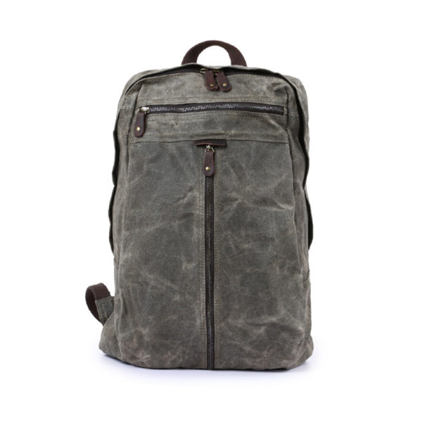Vintage Laptop Backpack For Men – Waterproof Oil Canvas & Crazy Horse Leather