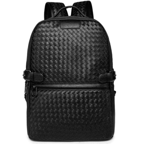 Men's Black Weave Leather Backpack – Men's Laptop Bag & Travel Backpacks