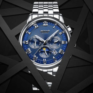 Fashion Watch For Men – Automatic Mechanical Blue Wrist Wristwatch (Stainless Steel)
