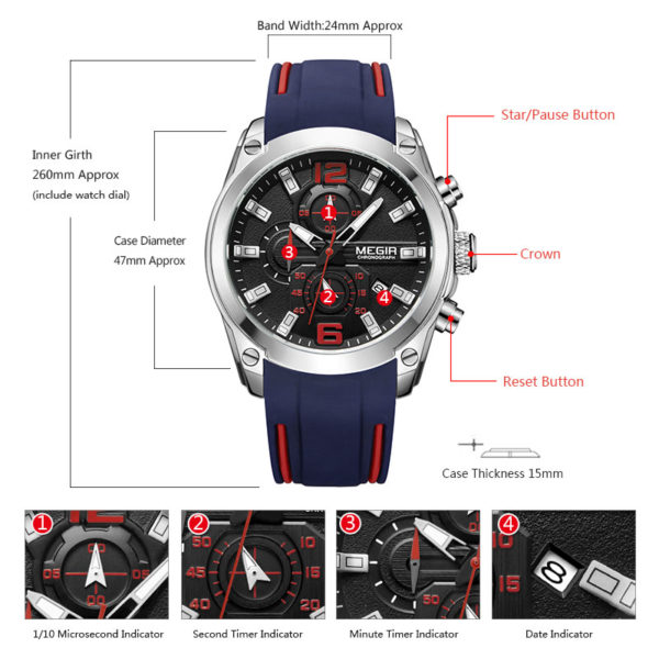 Men's Chronograph Analog Quartz Watch with Date – Luminous Hands, Waterproof Silicone Rubber Strap Wristswatch for Man