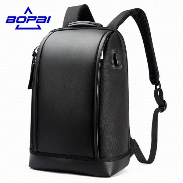 Shell Shape Business Men's Office Work Backpack With USB Charge: Cool Male Leather Daypack