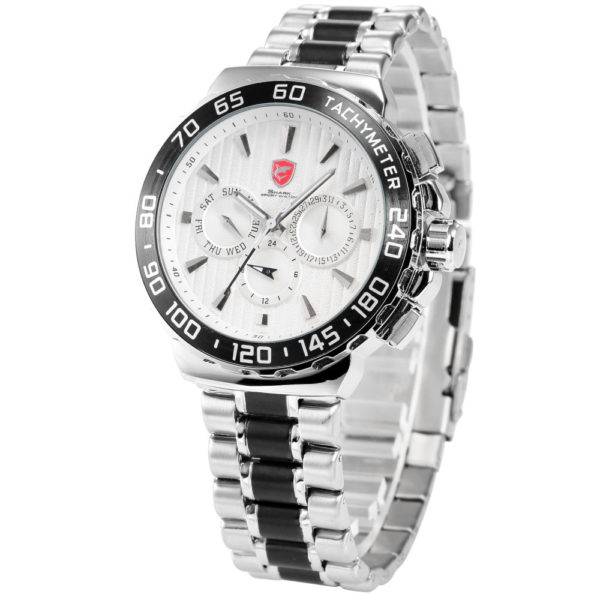 Shark Sport Watch White Silver Stainless Steel Band – Auto Date/Day Waterproof Men's Sports Quartz Wrist Watches