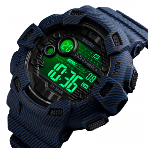 SKMEI Fashion Digital Watch For Men (Alarm, Waterproof, Week Display, Denim Look)