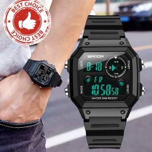SANDA Men's Digital Sports Watch (Countdown, Waterproof, LED, Digital, Military)