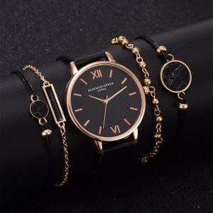 SZWW003: 5 Pieces Set – Women's Luxury Leather Band Watch