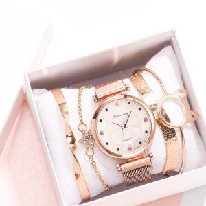 Fashion 5pcs Set Women Watches Luxury Magnet Buckle Flower Rhinestone Watch Ladies Quartz Wrist Watch Bracelet Set Reloj Mujer 1