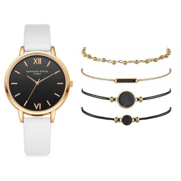 SZWW003: 5 Pieces Set – Women's Luxury Leather Band Watch
