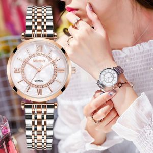 Women Watches Top Brand Luxury 2020 Fashion Diamond Ladies Wristwatches Stainless Steel Silver Mesh Strap Female Quartz Watch 1