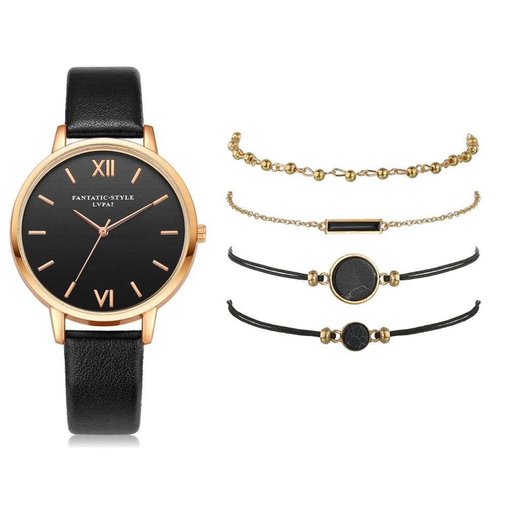 SZWW003: 5 Pieces Set - Women's Luxury Leather Band Watch